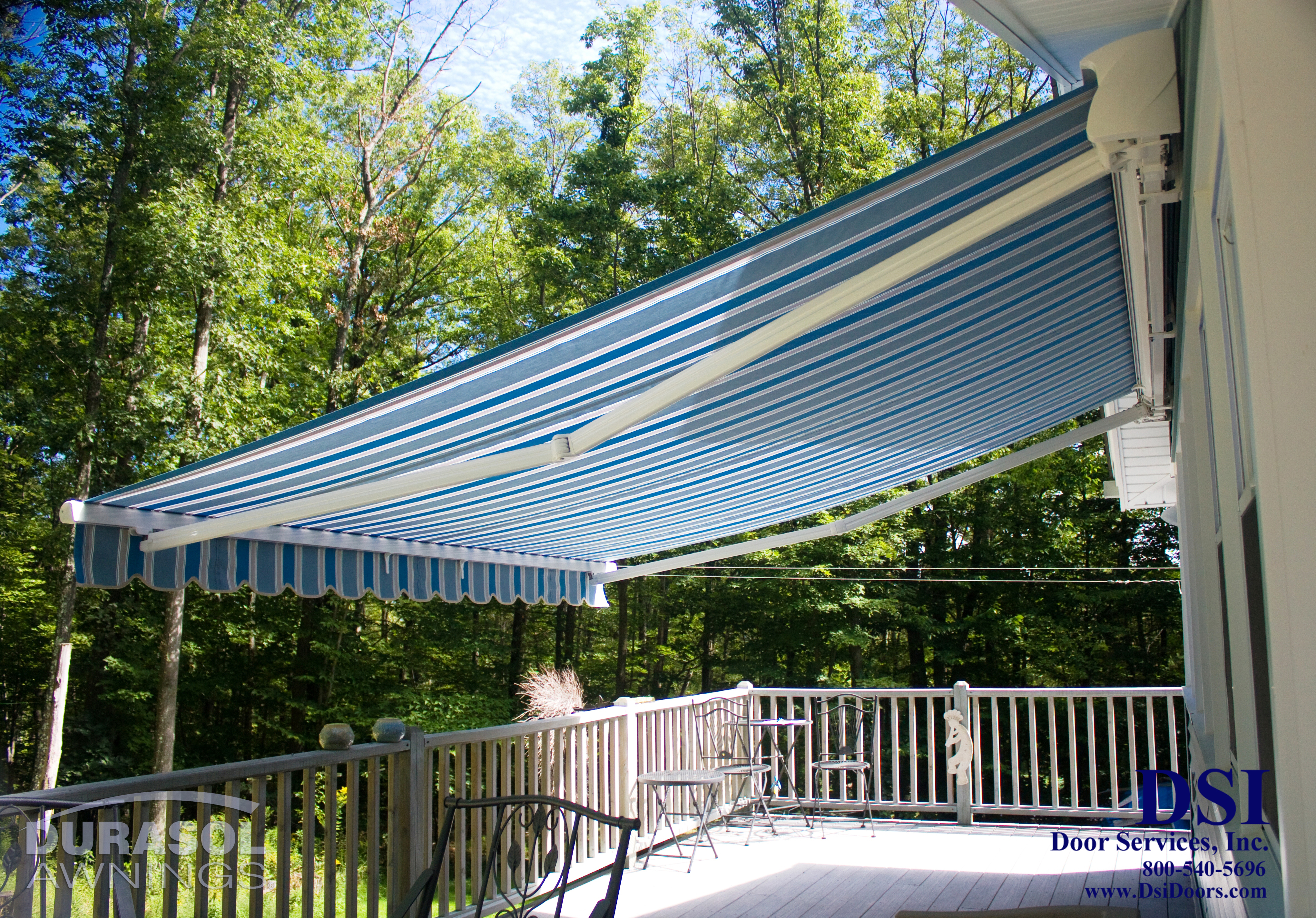 Open Blue Awning
