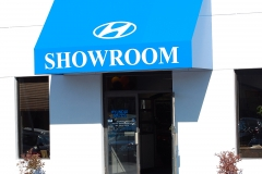 Blue Showroom Awning
