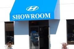 Blue Showroom Awning