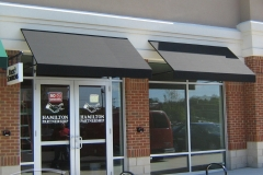 Two Black Store Front Awnings